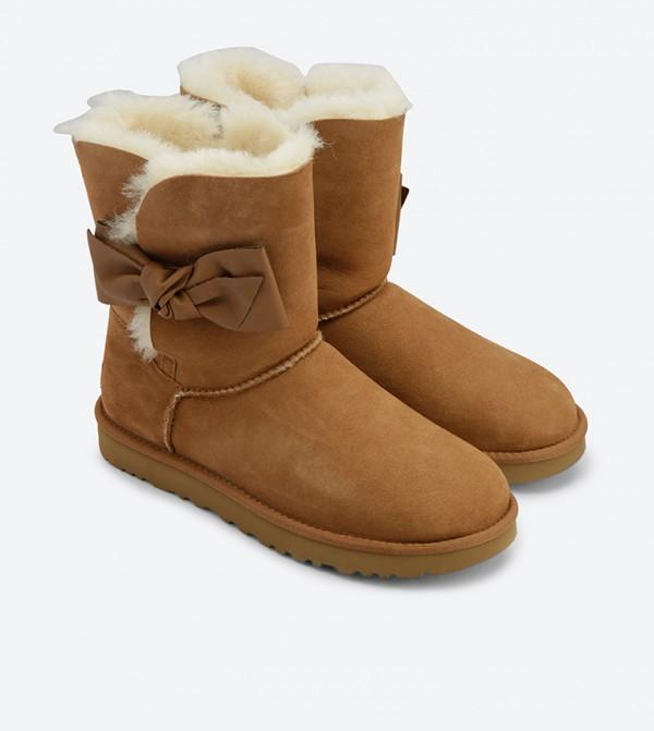 b9d21eeb4c7 Daelynn Bow Details Boots - Brown 1019983