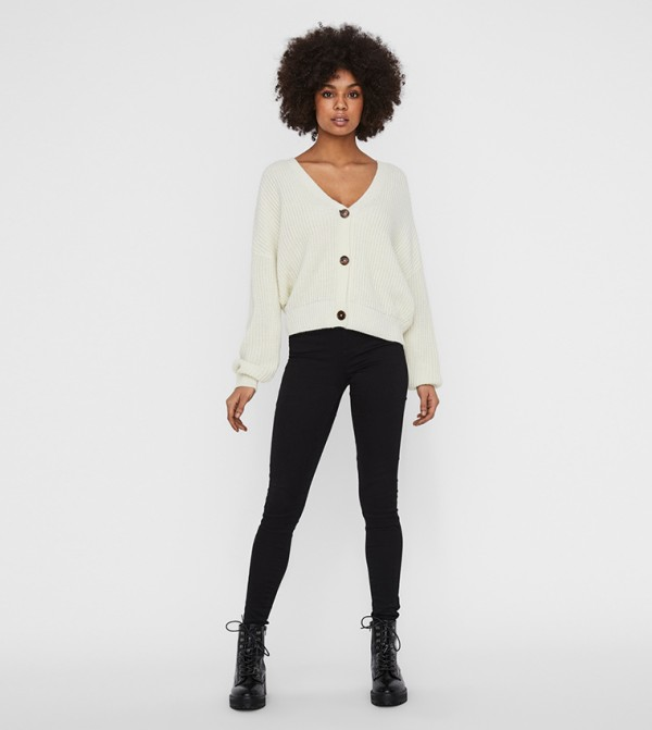 Knit Cardigans - White