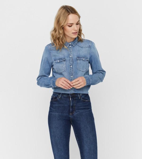 قميص جينز - ازرق معتدل