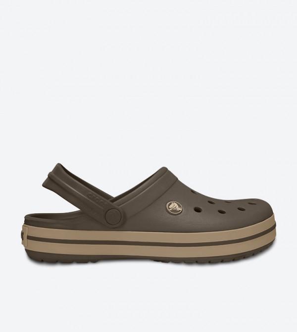 Crocband Round Toe Sling Back Strap Clog - Brown