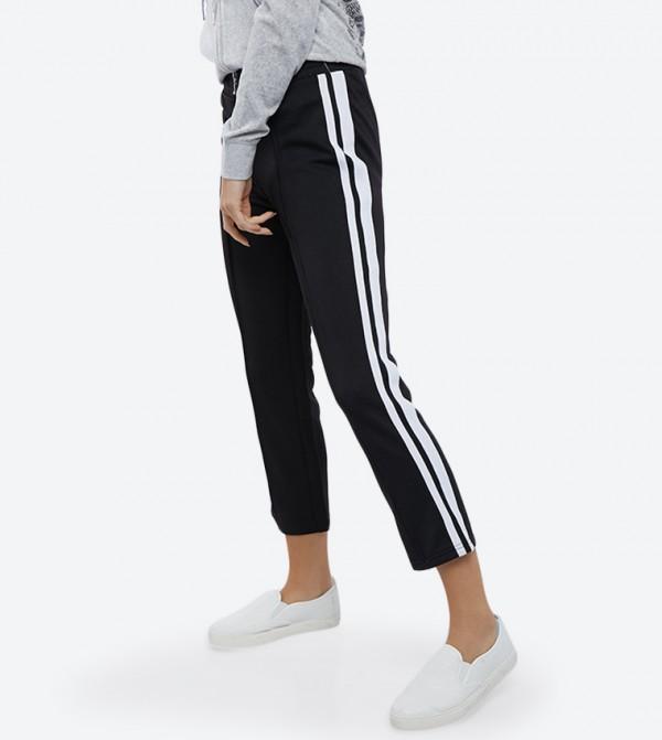 Elastic Waistband Zip Closure Track Pants - Black 118-WTWB116550