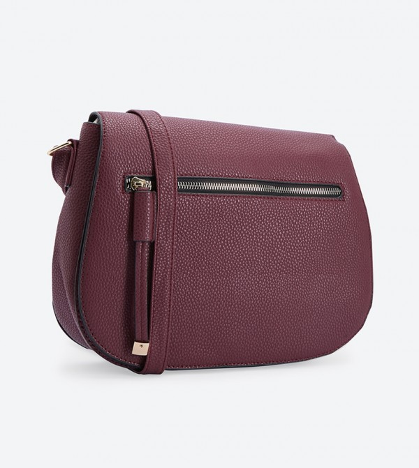 Front Zip Details Snap Closure Sling Bag - Burgundy
