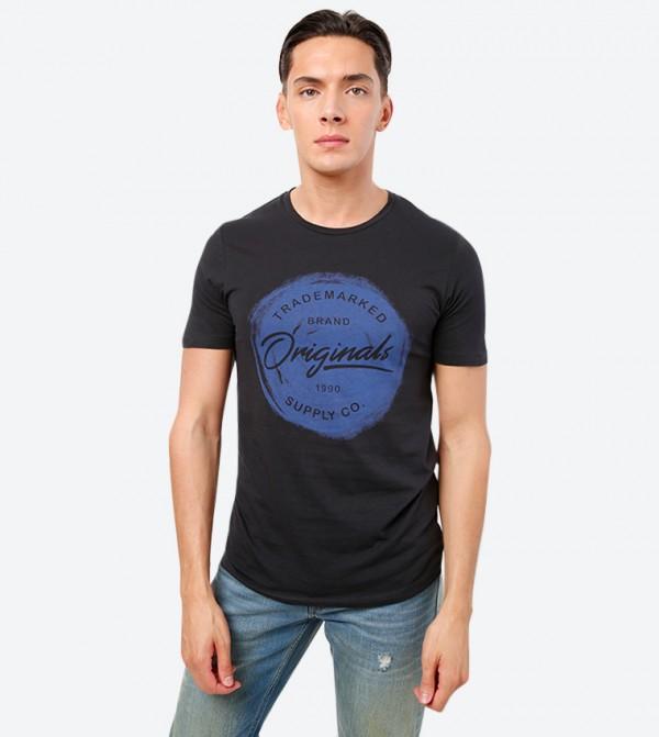 Graphic Printed Short Sleeve Crew Neck T-Shirt - Black