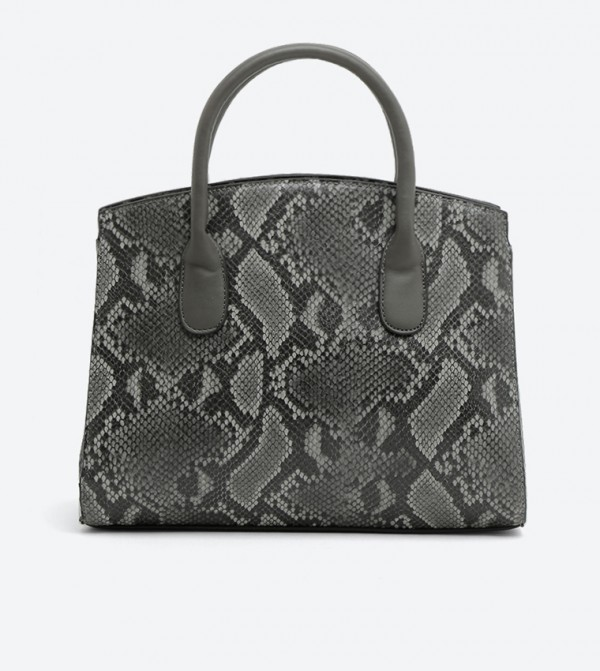 Synthetic Top Handle Bag For Women Dark Grey