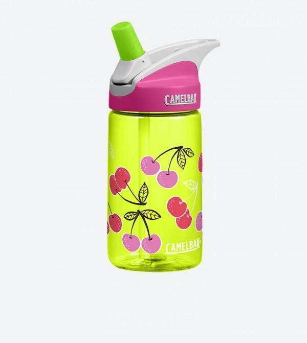 Cherries Printed Water Bottle 400ml - Green