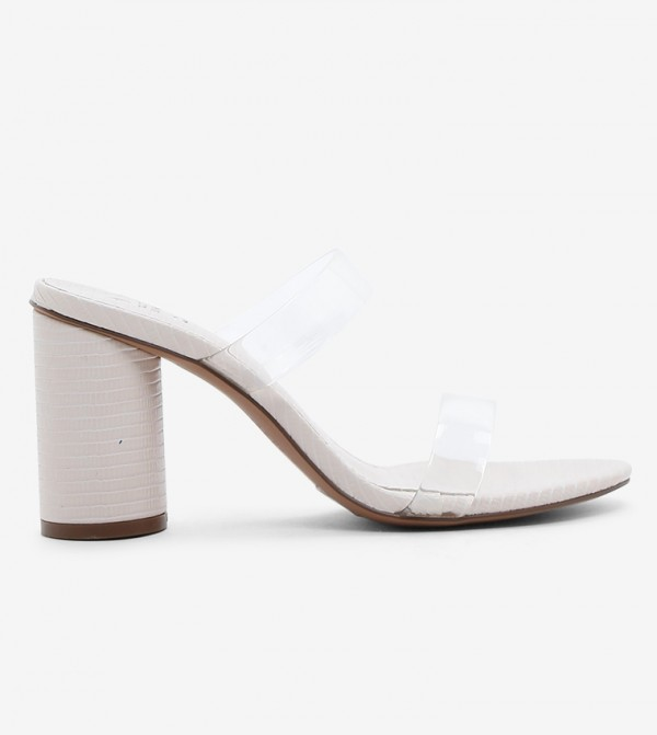 Block Heels - White
