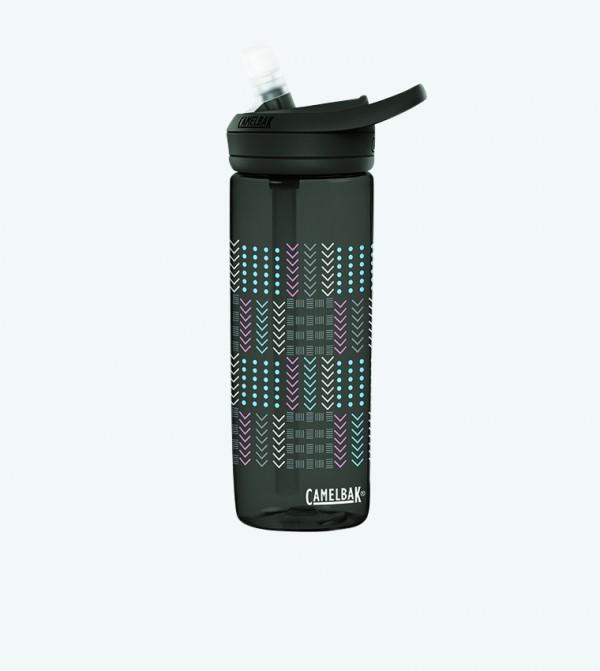 Quilt Geo Printed Water Bottle 600ml - Black
