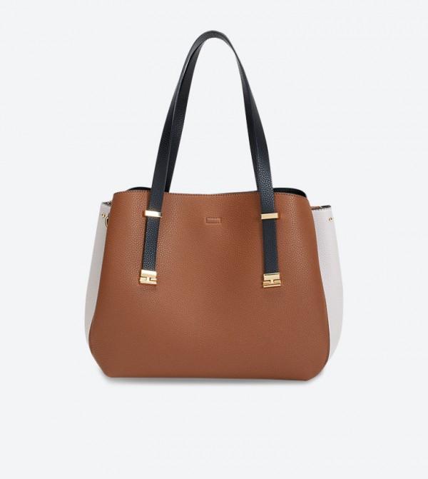 Ella Shopper Double Grab Handle Shoulder Bags - Brown