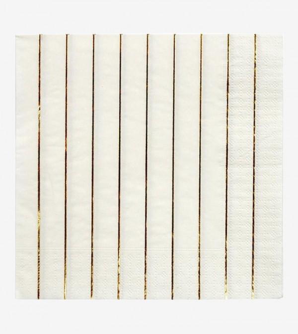 Striped Large Napkins Set (16 Pcs) - White