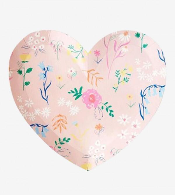 Wildflower Heart Plate Small Set (12 Pcs) - Pink