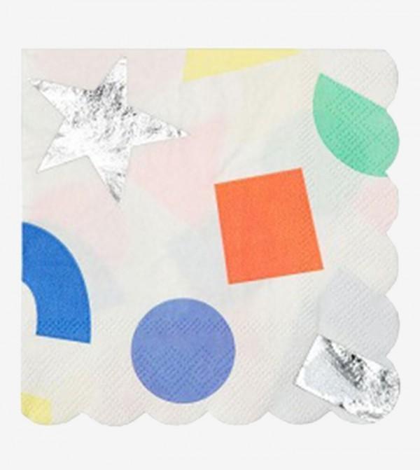 Geometric Small Napkins Set (16 Pcs) - White