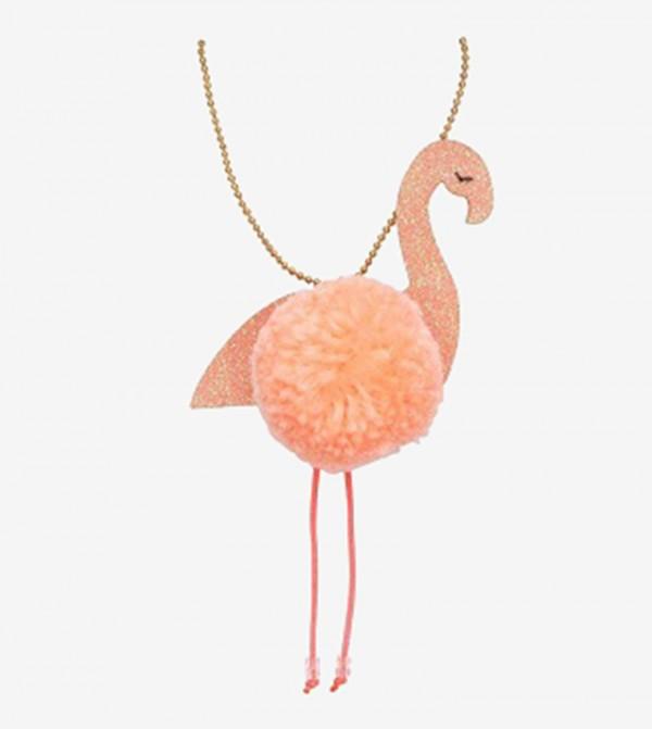 Flamingo Pom Pom Detail Necklace - Pink