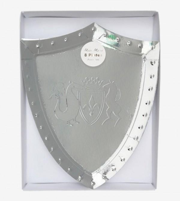 Shield Shape Party Plates Set (8 Pcs) - Silver
