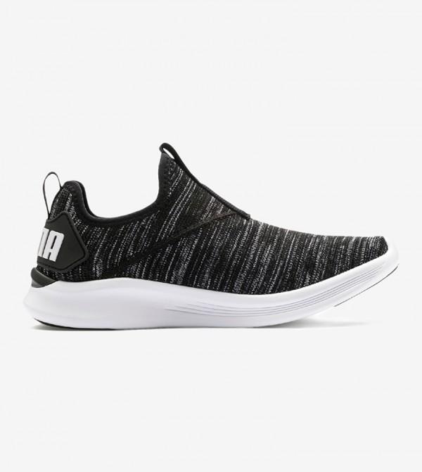 Textured Contrast Sole Running Slip-Ons - Black