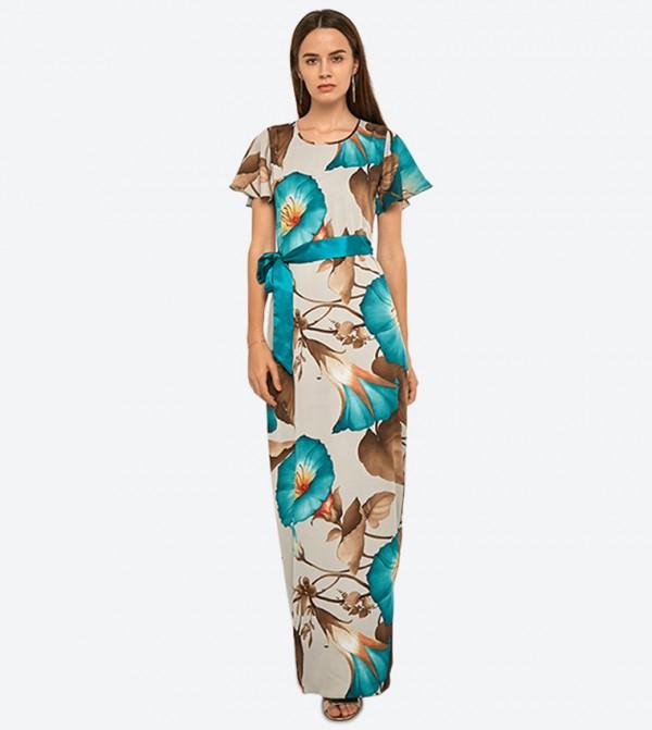 فستان طويل بنمط مورد