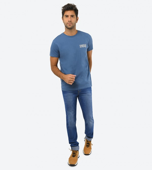Ss Kennebec River Back Graphic Tee-Blue