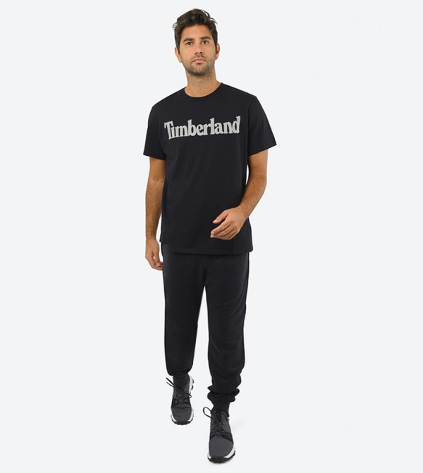 Ss Elevated Linear Tee-Black