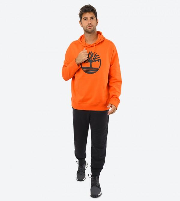Core Tree Logo Pullover Hoodie (Brush)-Orange