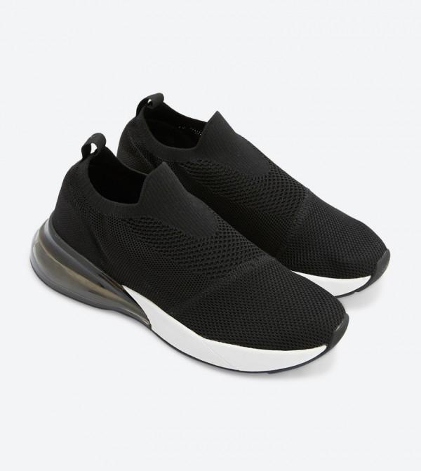 Laraoven Mesh Round Toe Slip-Ons - Black