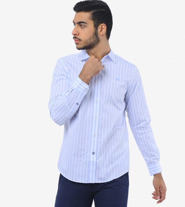 قميص مطبع بأكمام طويلة
