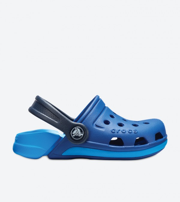 Round Toe Cut Out Detail Stylish Clogs - Blue