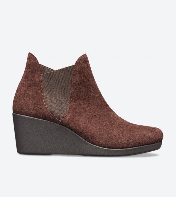 Leigh Wedge Heel Round Toe Ankle Boot - Brown