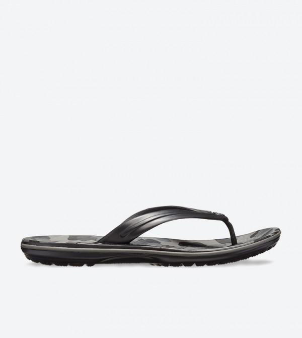 Camouflage Printed Round Toe Flip Flops - Black