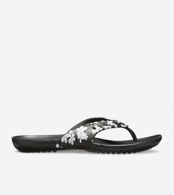 Flower Printed Detail Round Toe Flip Flops - Black