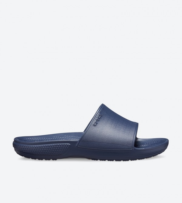 Round Toe Broad Strap Stylish Sliders - Navy