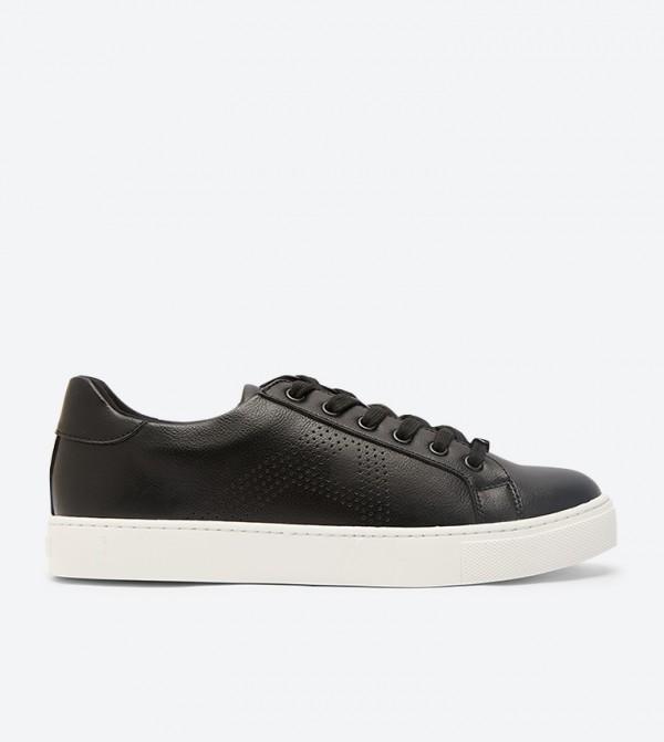 حذاء ساليدث رياضي مع أربطة للإغلاق لون أسود