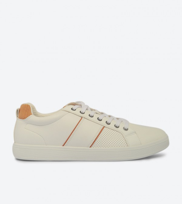 Lovericia Lace-Up Closure Round Toe Sneakers - White