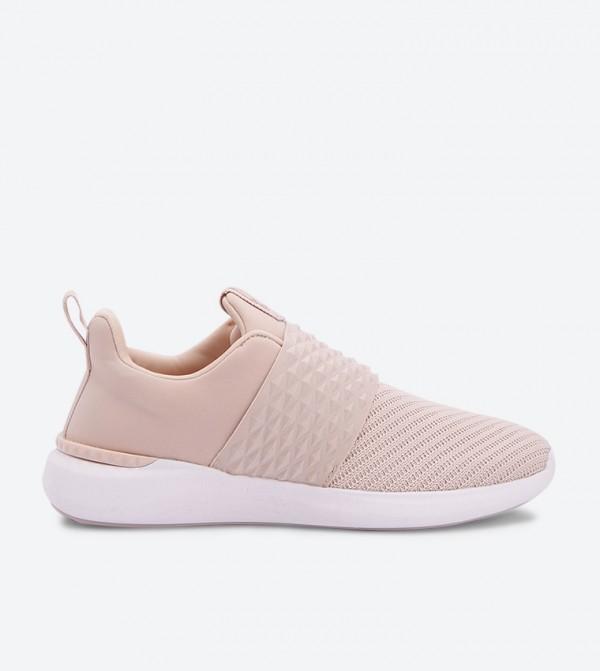 حذاء قماشي سهل الإرتداء بمقدمة مدورة لون زهري