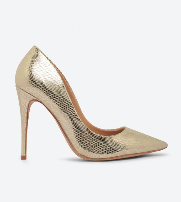 Stessy Stiletto Heel Pointed Toe Trendy Pumps - Gold