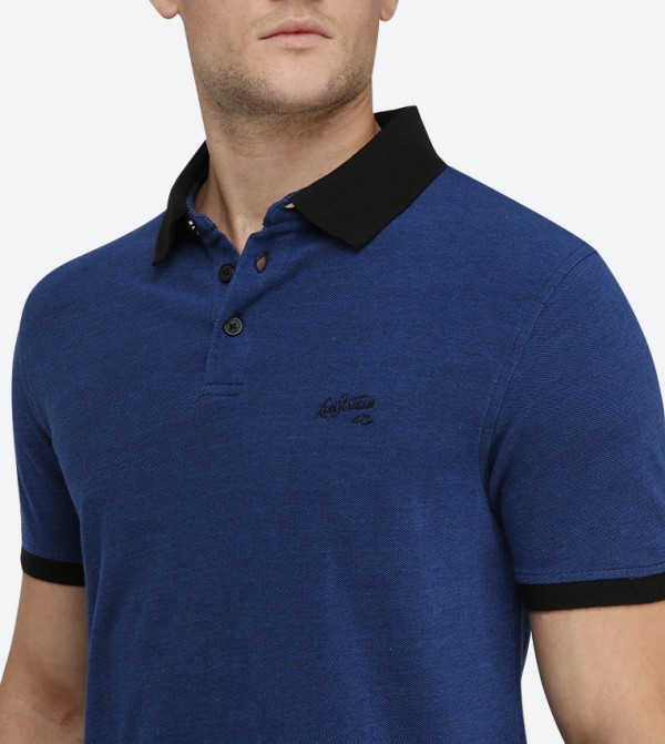Short Sleeve Classic Collared Polo Shirt - Blue 22403-0038