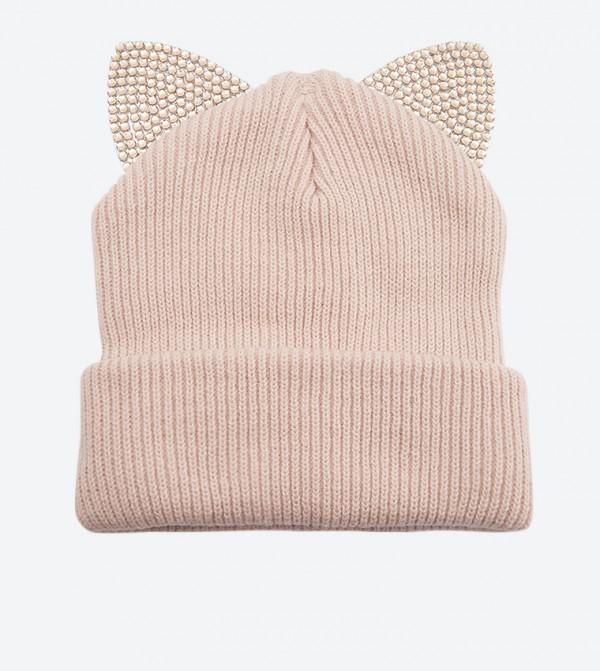 قبعة أجريريس بتصميم أذان قطة مزيّن بالأحجار لون زهري