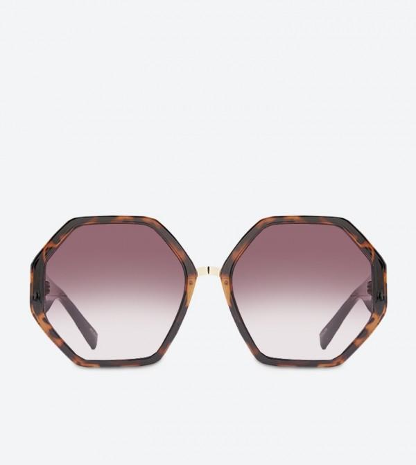 Amorfidith Octagonal Full Rim Sunglasses - Brown