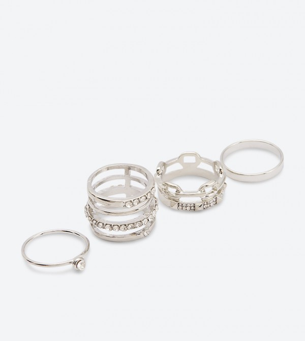 Assorted Designs Amorfilith Rings Set (4 Pcs) - Silver