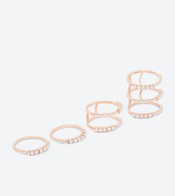 Bralemma Pearl Detailed Rings Set (4 Pcs) - Beige
