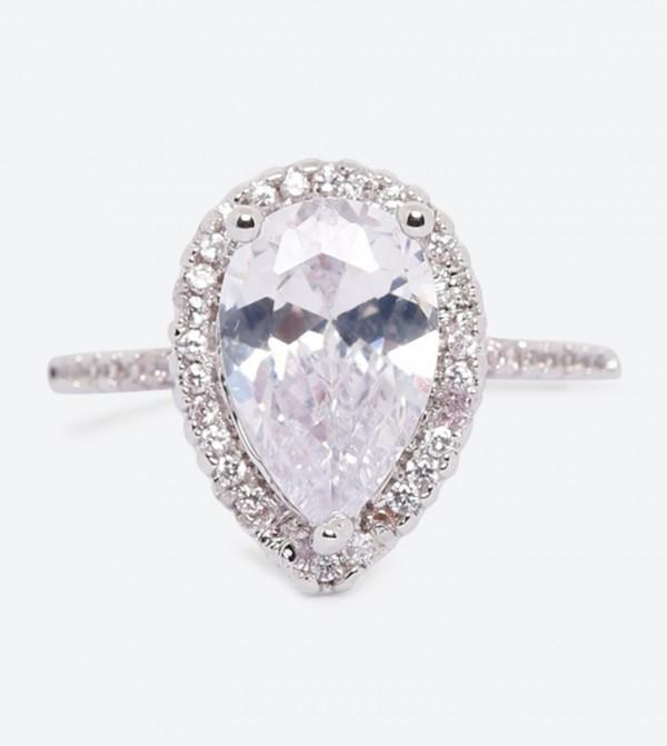 Daoria Stone Detailed Ring - Silver