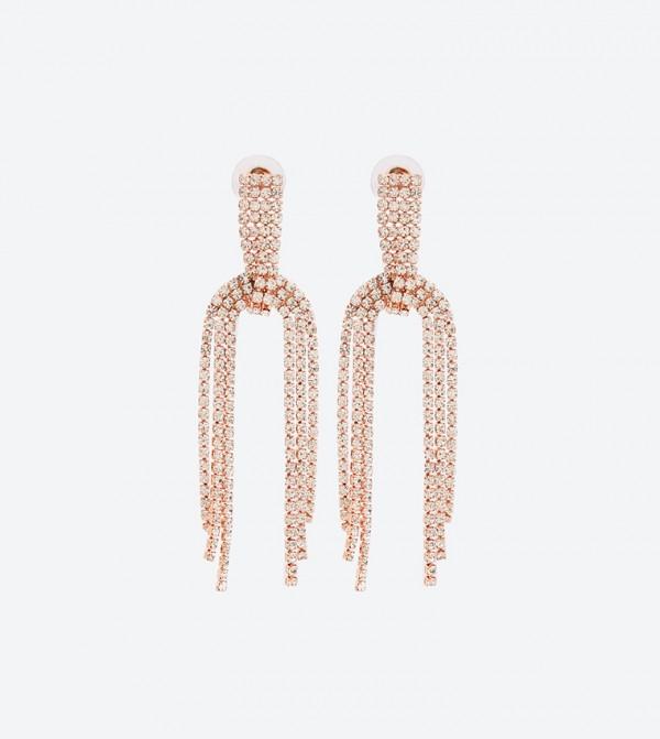 Diamond Embellished Garathien Earrings - Gold