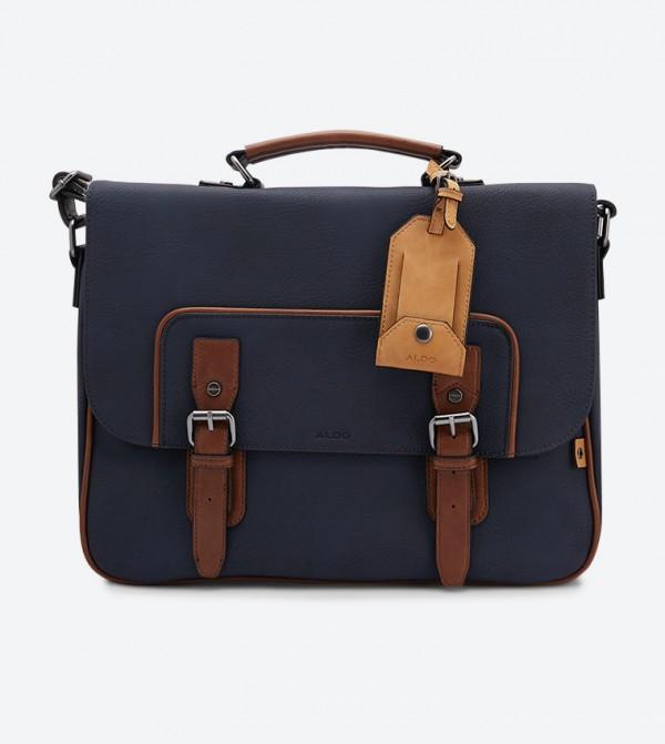 حقيبة جلديا مزدوجة الإغلاق مع طيّة للإغلاق لون كحلي