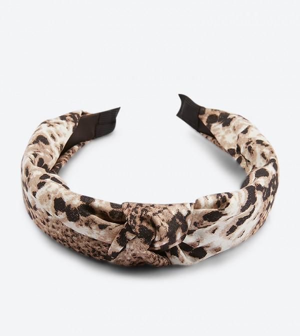 Snake Printed Stretchable Grenasa Head Band - Grey