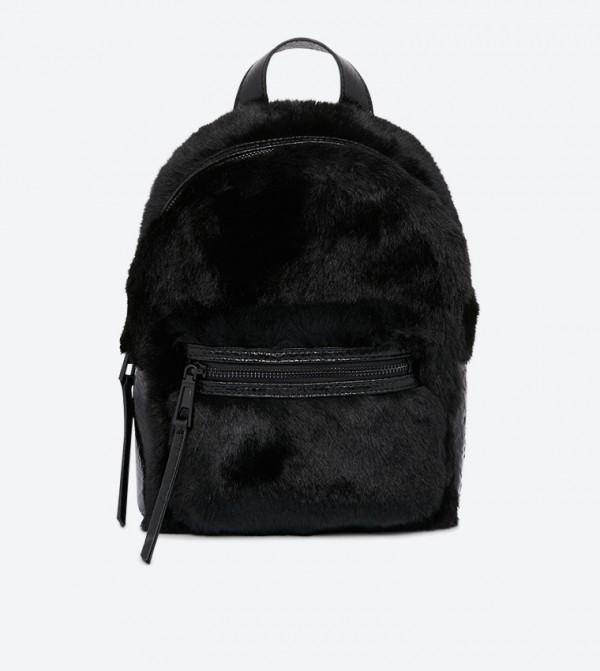 Kintla Zipper Pocket Furr Detailed Backpack - Black