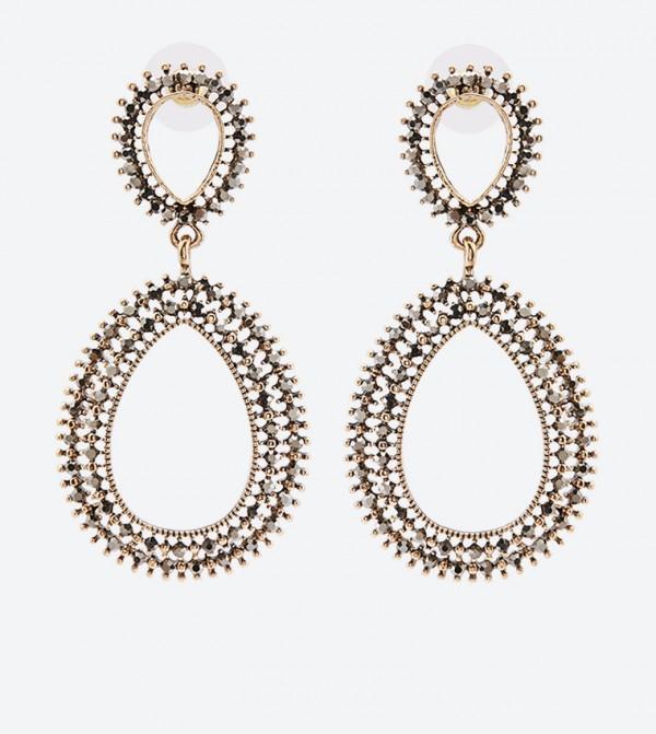 Gemstone Embellished Leivia Drop Earrings - Grey