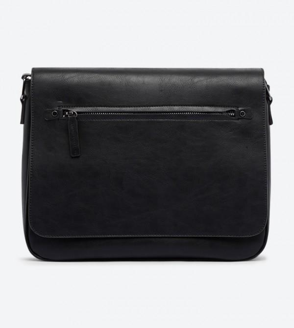 Liebold Front Flap Zip Detail Messenger Bag - Black