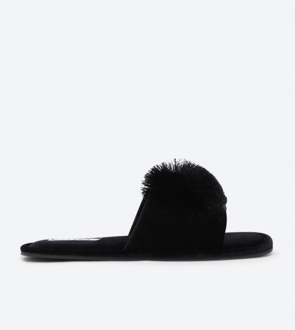 Millardet Pom Pom Detailed Round Toe Sliders - Black