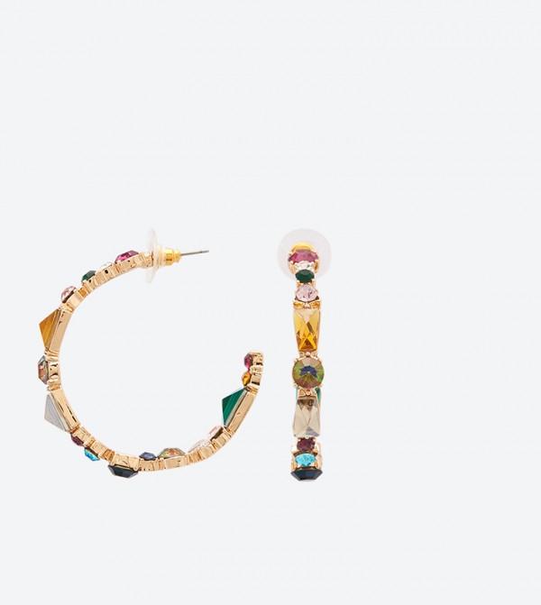 Rhinestone Detail Oleranna Hoop Earrings - Multi