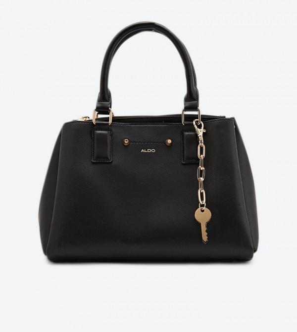 Zip Fastening Puweth Structured Tote Bag - Black