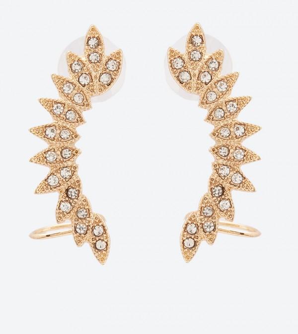 Embellished Bullet Stud Closure Severilia Earrings - Gold