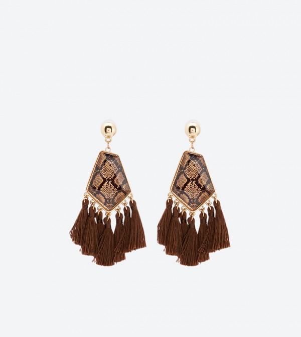 Printed with Tassels Detail Tuclya Drop Earrings - Brown